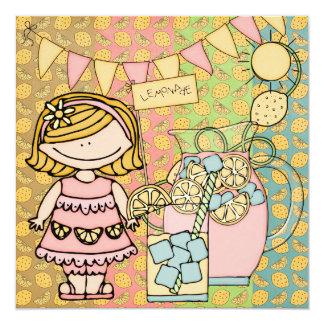 Blond Girl Summer Lemonade Birthday Invitation