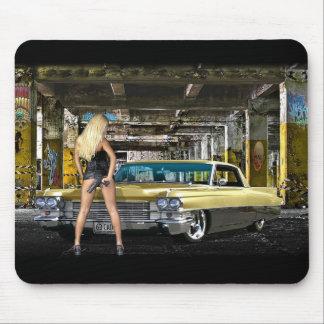 blond,gun,cadillac mouse mat