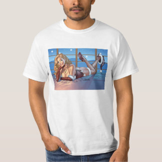 Blond Hair, Blue Eyed Beauty Illustration - Al Rio T-Shirt