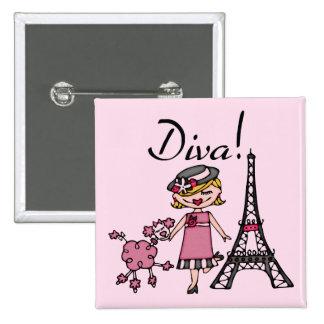 Blond Hair Diva 15 Cm Square Badge