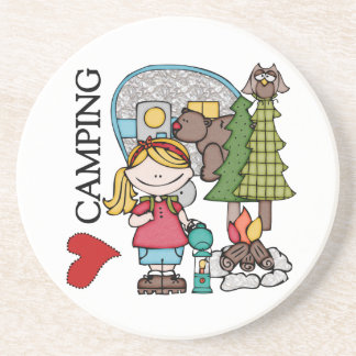 Blond Hair Girl I Love Camping Drink Coasters