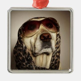 Blond Labrador Retriever wearing sun glasses Christmas Ornament