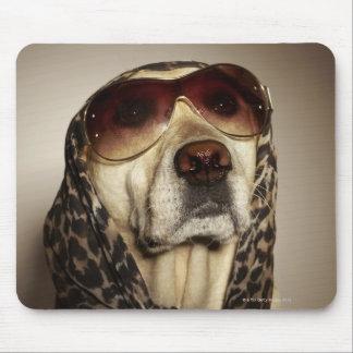Blond Labrador Retriever wearing sun glasses Mouse Mat
