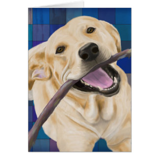 Blond Labrador Smiling with Joy, Chewing a Stick Card