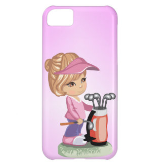 Blond little girl playing golf case for iPhone 5C