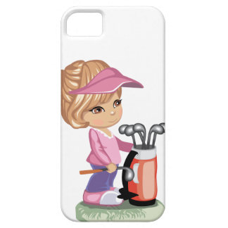 Blond little girl playing golf case for the iPhone 5