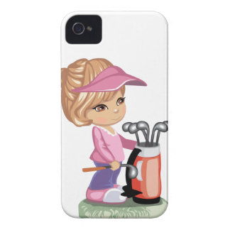 Blond little girl playing golf iPhone 4 Case-Mate cases
