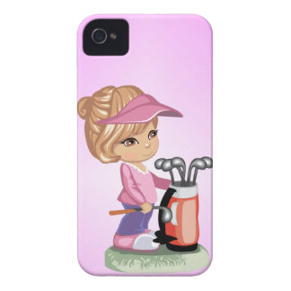 Blond little girl playing golf iPhone 4 cover
