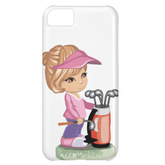 Blond little girl playing golf iPhone 5C case