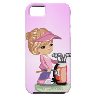 Blond little girl playing golf tough iPhone 5 case