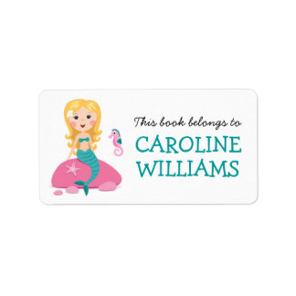Blond mermaid and seahorse bookplate book label