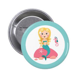 Blond mermaid cartoon girl with starfish seahorse 6 cm round badge