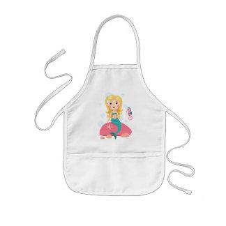 Blond mermaid cartoon girl with starfish seahorse kids apron