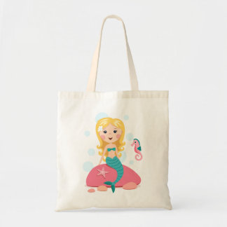 Blond mermaid cartoon girl with starfish seahorse tote bag