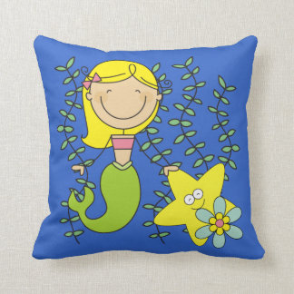 Blond Mermaid Throw Pillow