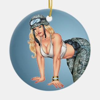 Blond Military Pinup Girl Crawling on Hands, Knees Double-Sided Ceramic Round Christmas Ornament