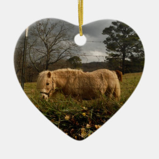 Blond Miniature Pony / Horse Ceramic Heart Decoration