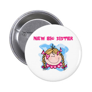 Blond New Big Sister Tshirts and Gifts Pinback Buttons