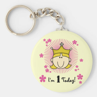 Blond Princess 1st Birthday Tshirts and Gifts Basic Round Button Key Ring