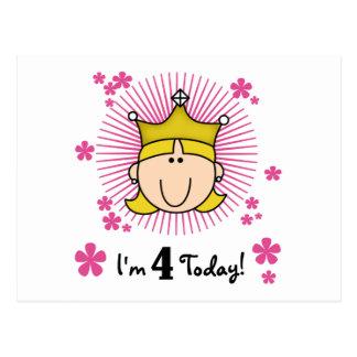 Blond Princess 4th Birthday Tshirts and Gifts Postcard