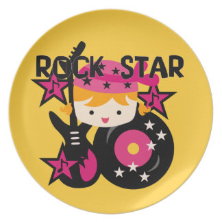 Blond Rock Star Girl Plate