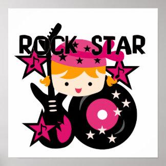Blond Rock Star Girl Poster
