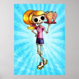 Blond Skeleton Waitress Poster