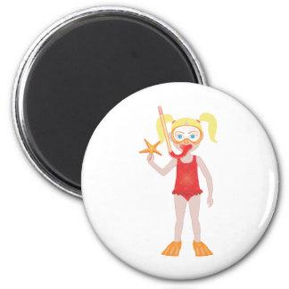 Blond Snorkel Girl 6 Cm Round Magnet
