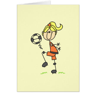 Blond Stick Figure Soccer Player Girl Gifts Card