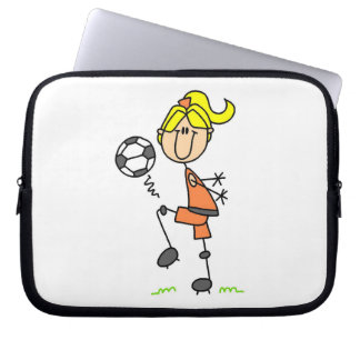 Blond Stick Figure Soccer Player Girl Gifts Laptop Sleeve