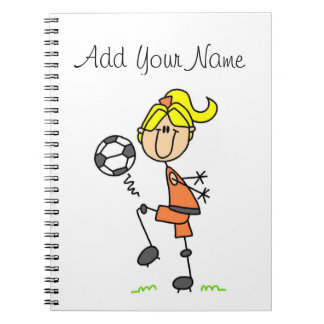 Blond Stick Figure Soccer Player Girl Gifts Notebooks
