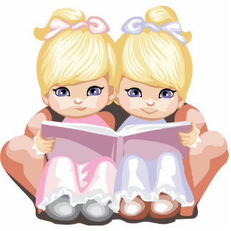Blond Twins Magnet Photo Sculpture