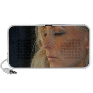 Blond Woman Relaxing Mini Speakers