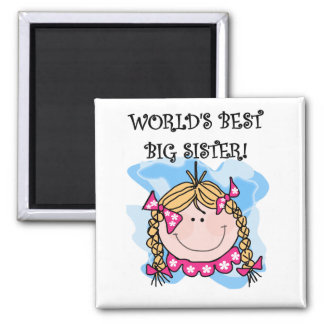 Blond World's Best Big Sister Tshirts and Gifts Square Magnet