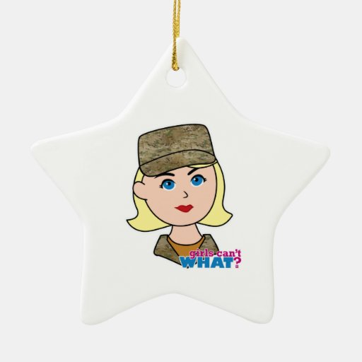 Blonde Air Force Camo Head Christmas Tree Ornaments