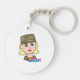 Blonde Air Force Camo Head Double-Sided Round Acrylic Key Ring