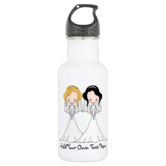 Blonde and Black Haired Brides Lesbian Wedding 532 Ml Water Bottle