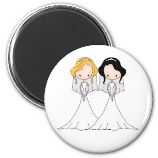 Blonde and Black Haired Brides Lesbian Wedding 6 Cm Round Magnet
