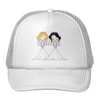 Blonde and Black Haired Brides Lesbian Wedding Cap