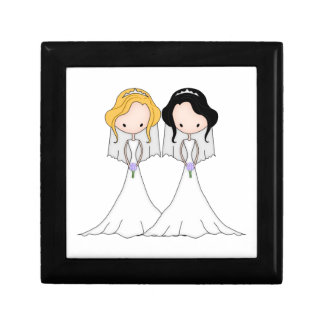 Blonde and Black Haired Brides Lesbian Wedding Gift Box