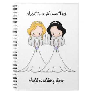Blonde and Black Haired Brides Lesbian Wedding Notebook