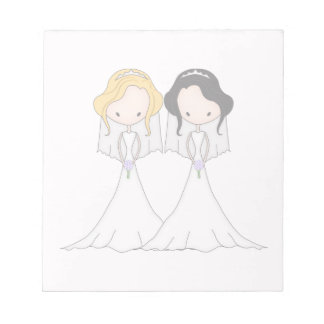Blonde and Black Haired Brides Lesbian Wedding Notepad