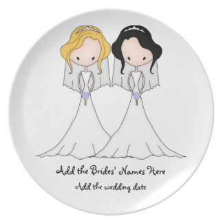Blonde and Black Haired Brides Lesbian Wedding Plate