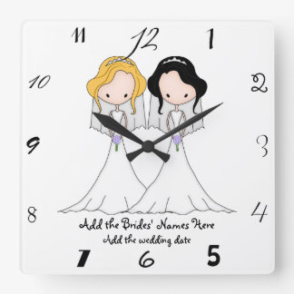 Blonde and Black Haired Brides Lesbian Wedding Square Wall Clock