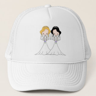 Blonde and Black Haired Brides Lesbian Wedding Trucker Hat