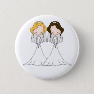 Blonde and Brunette Cartoon Brides Lesbian Wedding 6 Cm Round Badge