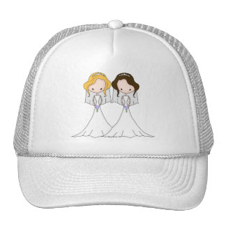 Blonde and Brunette Cartoon Brides Lesbian Wedding Cap