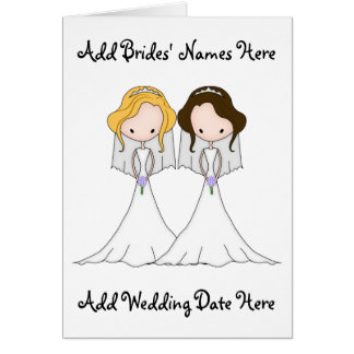 Blonde and Brunette Cartoon Brides Lesbian Wedding Card