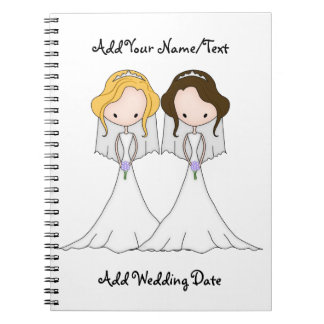 Blonde and Brunette Cartoon Brides Lesbian Wedding Notebooks