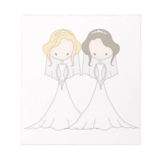 Blonde and Brunette Cartoon Brides Lesbian Wedding Notepad